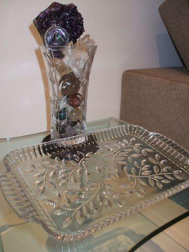 Crystal Leaves Vase n Tray