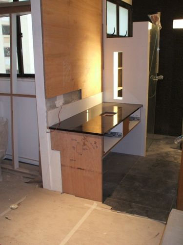 Granite Vanity Top<br />- with missing drawers and glass side panel